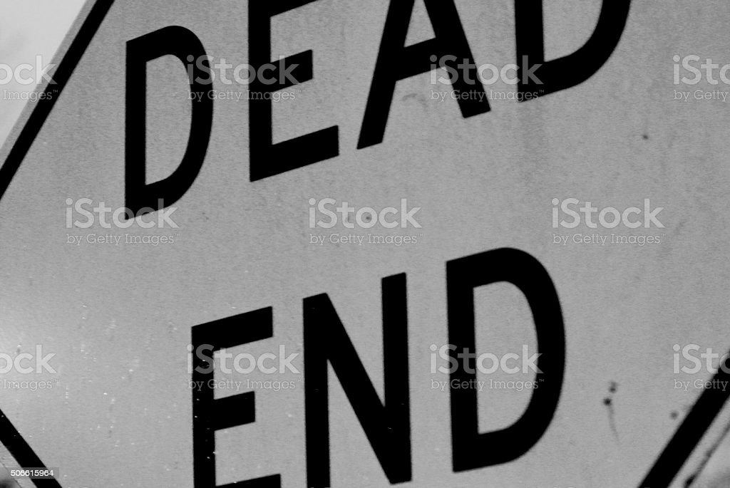 Black and White Dead End Sign stock photo