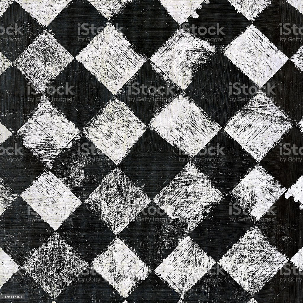 Black and White Distressed Checkerboard royalty-free stock photo
