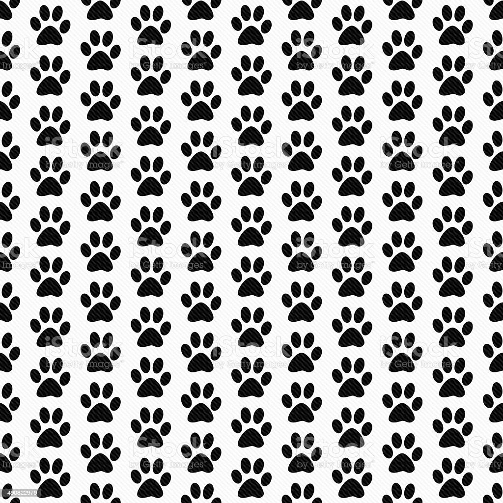 Black and White Dog Paw Prints Tile Pattern Repeat Background stock photo
