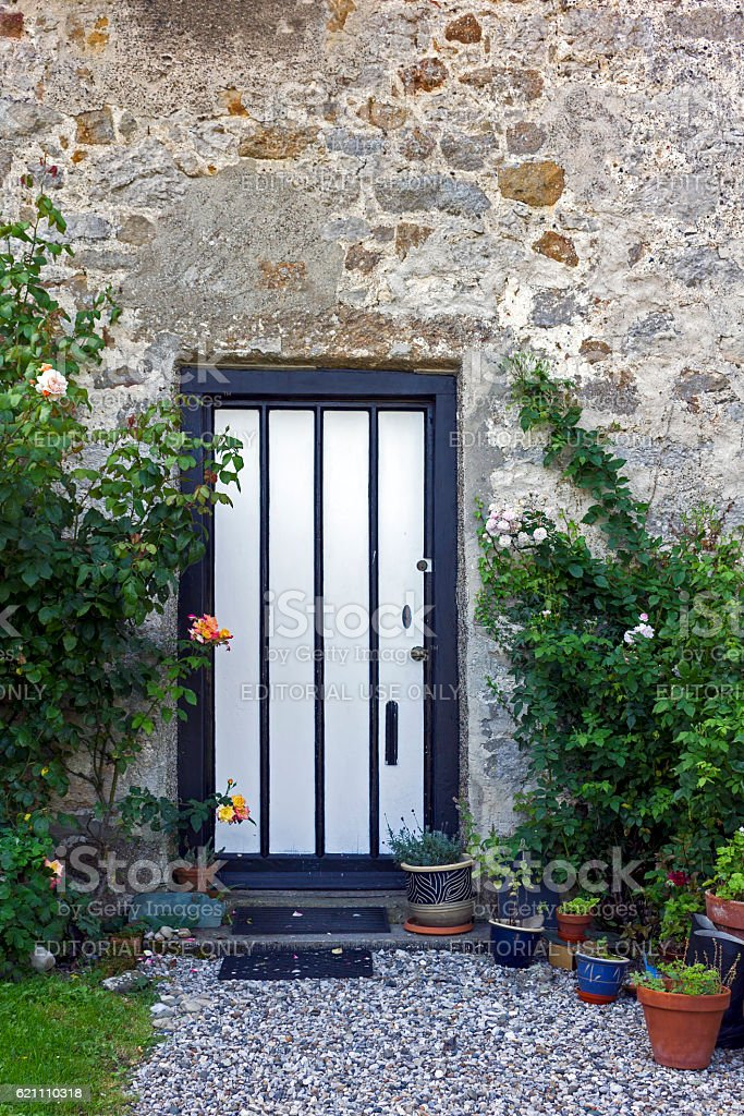 Black and White Door stock photo