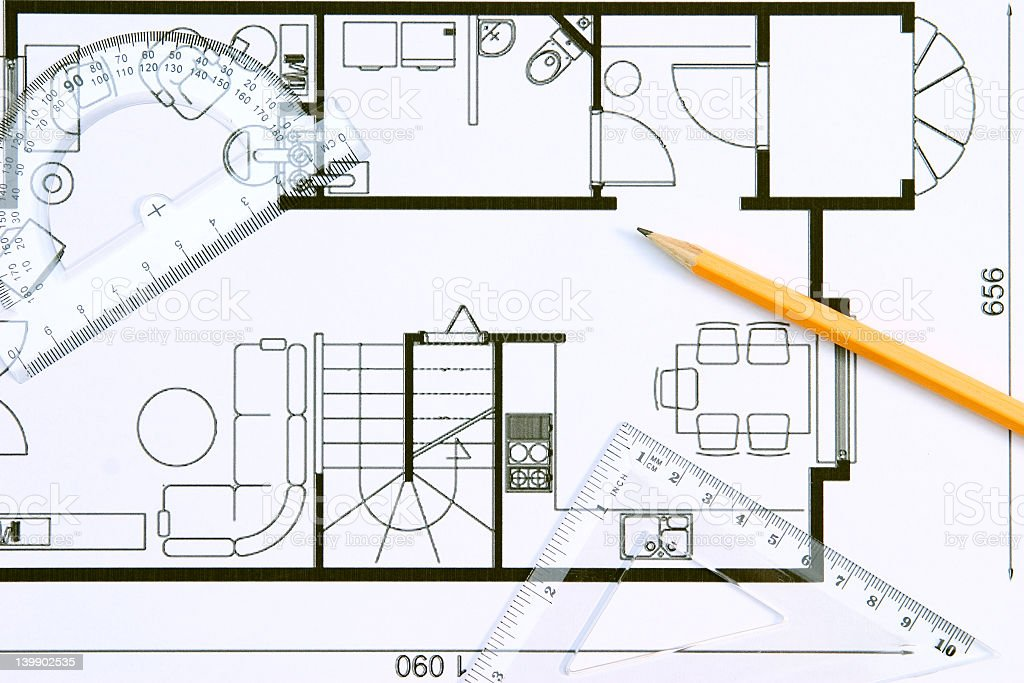 Black and white drawing of a floor plan stock photo