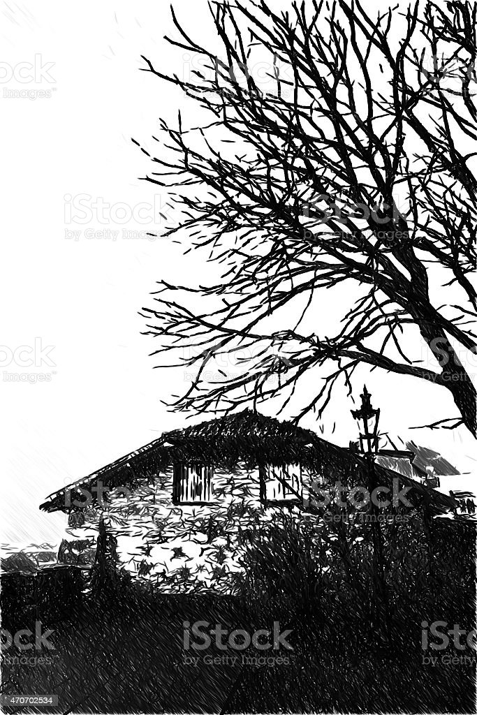 black and white drawing of an old house stock photo
