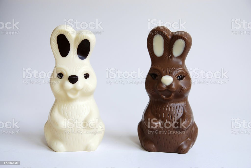 black and white easter bunnies royalty-free stock photo