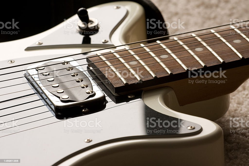 Black and White Electric Guitar stock photo