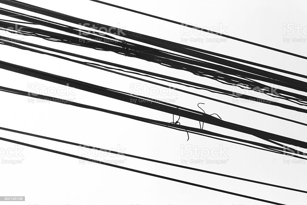 Black and white electrical cable on white background. stock photo