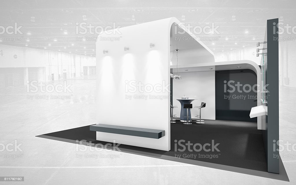 black and white exhibition stand stock photo