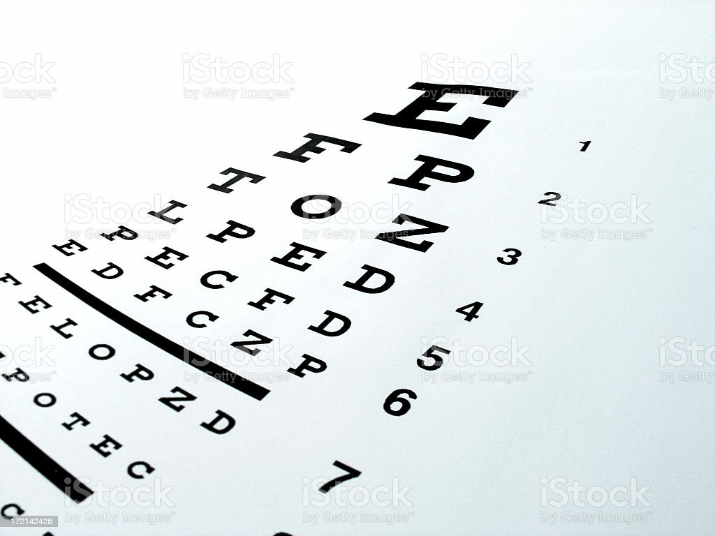Black and white eye chart captured on a slope stock photo