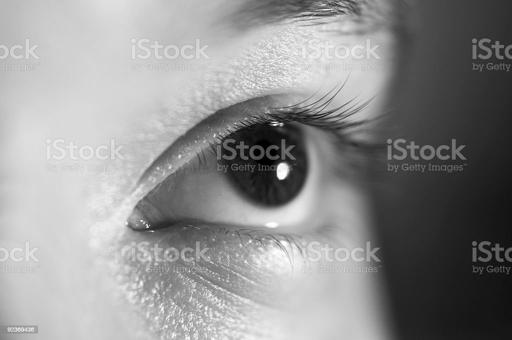 Black and white eye stock photo