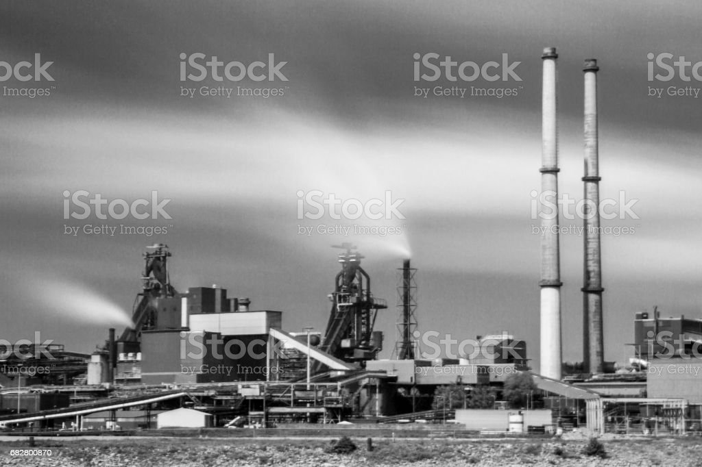 black and white factory landscape stock photo