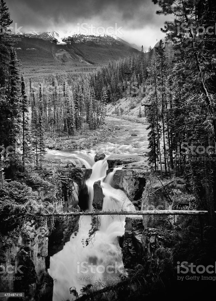 Black and white falls stock photo