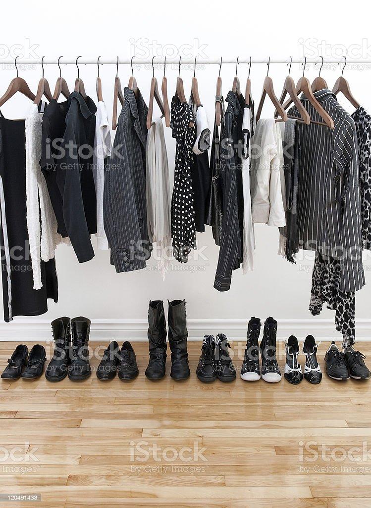 Black and white female clothing stock photo