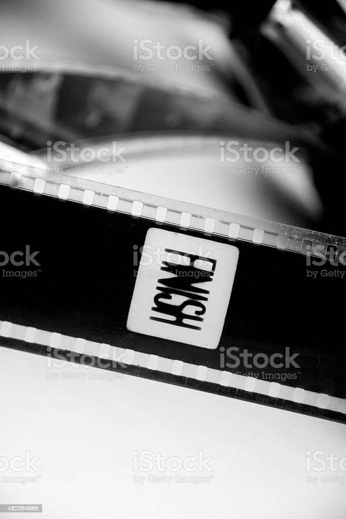 Black and white film finish stock photo