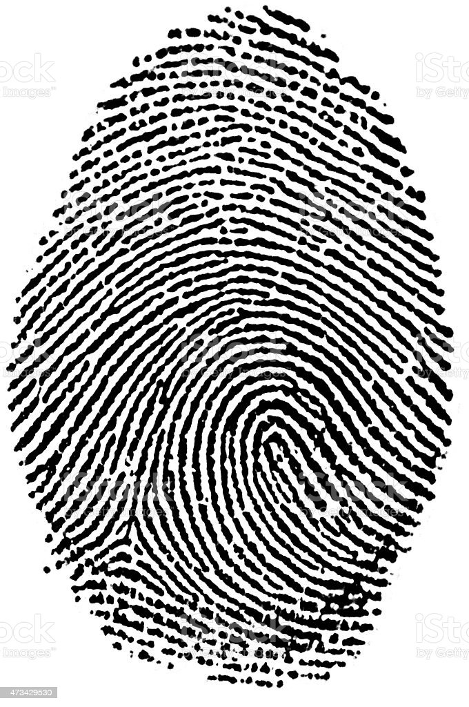 Black and White Fingerprint stock photo