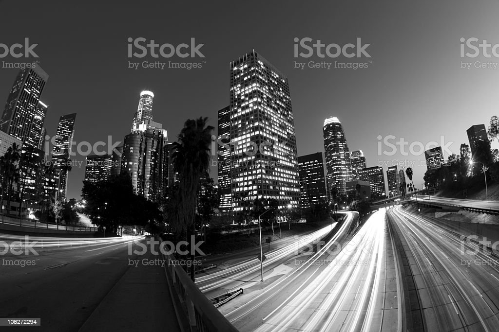 Black and White Fisheye Motion Blur of Los Angeles royalty-free stock photo