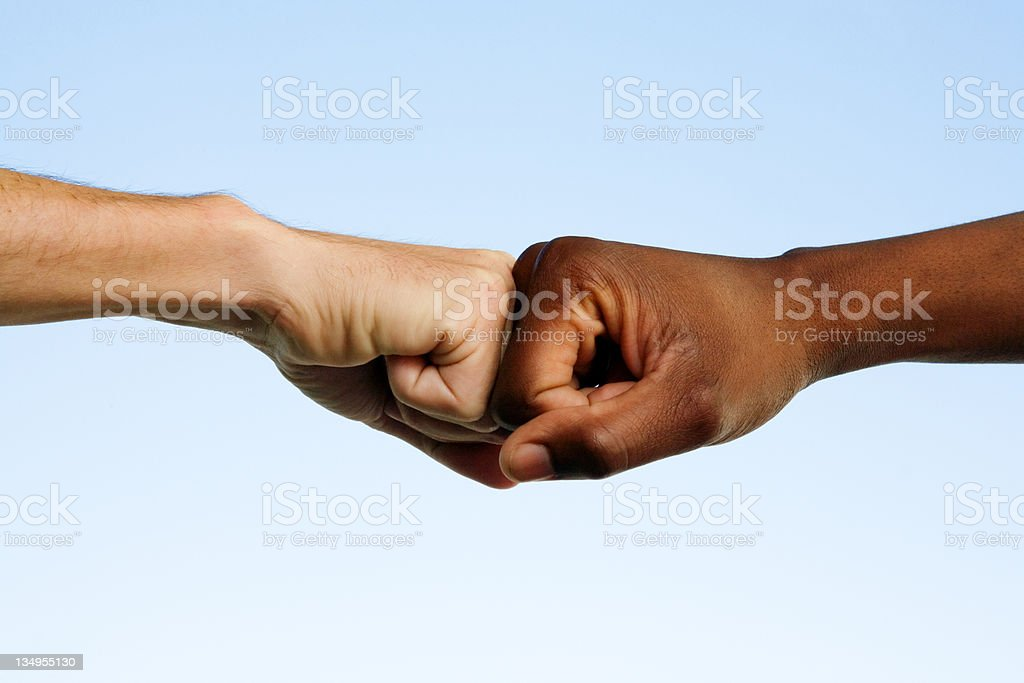 Black and white fists royalty-free stock photo