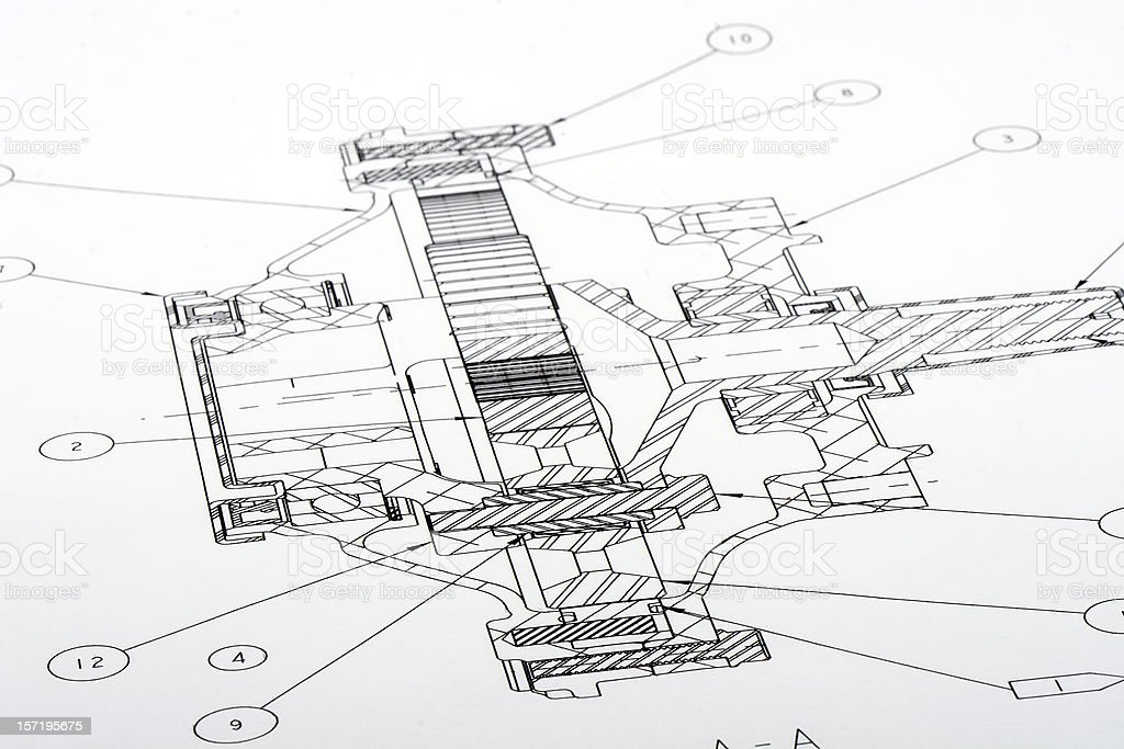 A black and white floor plan that is an engineering drawing royalty-free stock photo