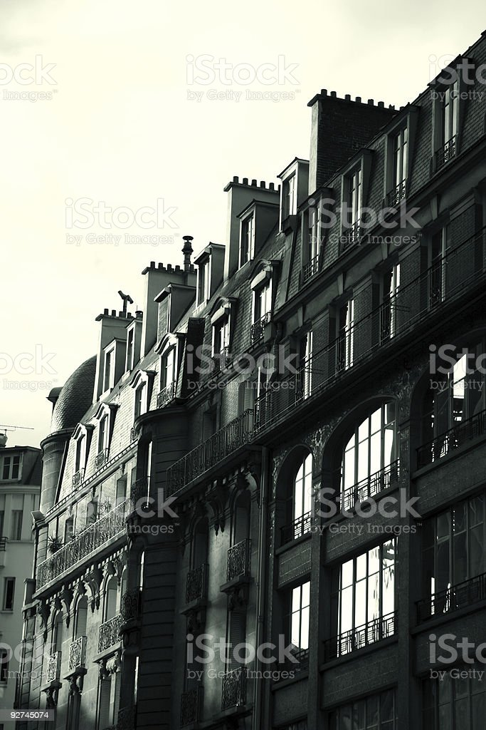 Black and white french building - sun rising stock photo