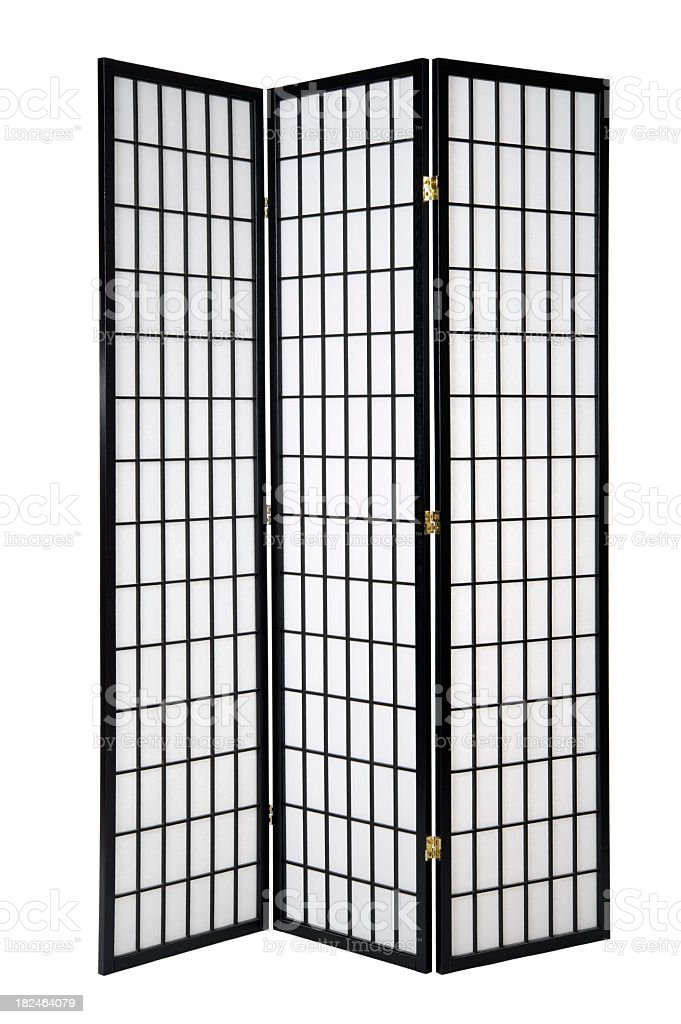 A black and white full-length windowed separator stock photo