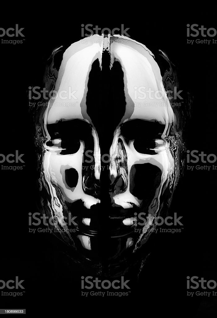 Black and White Futuristic Face stock photo