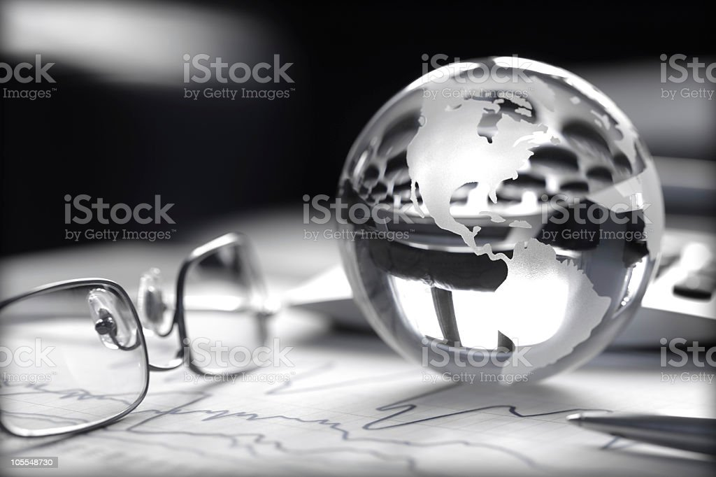 Black and white global investment concept stock photo