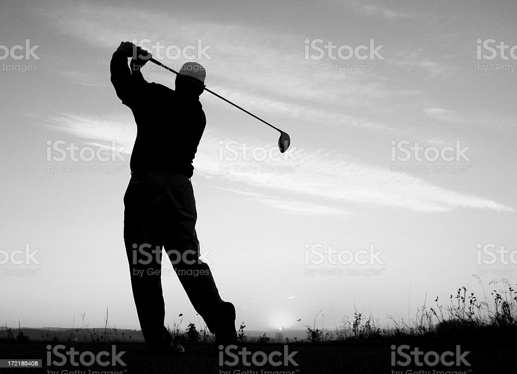 Black and White Golf Image of Athletic Golfer Posing royalty-free stock photo