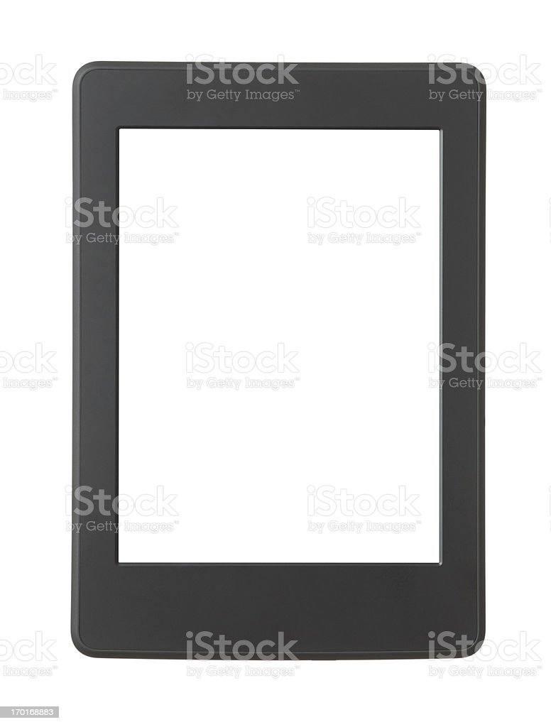 Black and white graphic of Ebook reader on white background. royalty-free stock photo