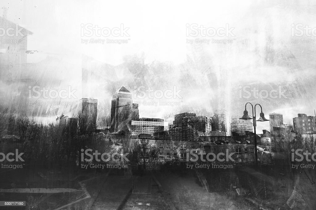 Black and white grunge urban skylines stock photo