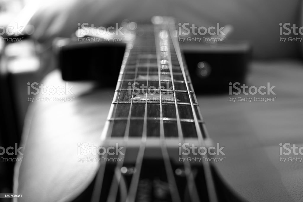 Black and White Guitar royalty-free stock photo
