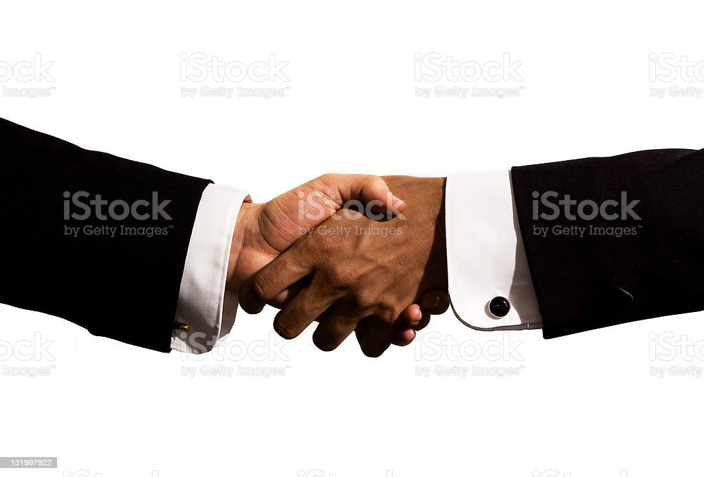Black and white handshake royalty-free stock photo