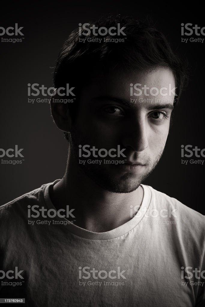 Black and White Headshot Male stock photo