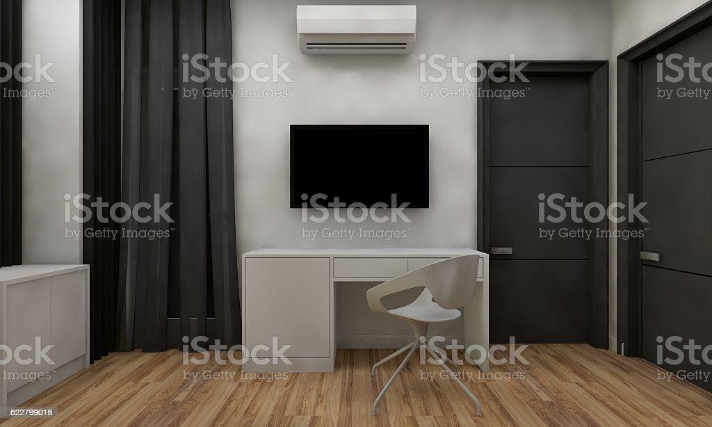 3D black and white hotel room scene stock photo