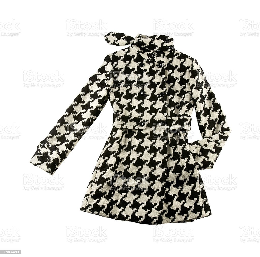 Black and white houndstooth check woolen cute coat stock photo