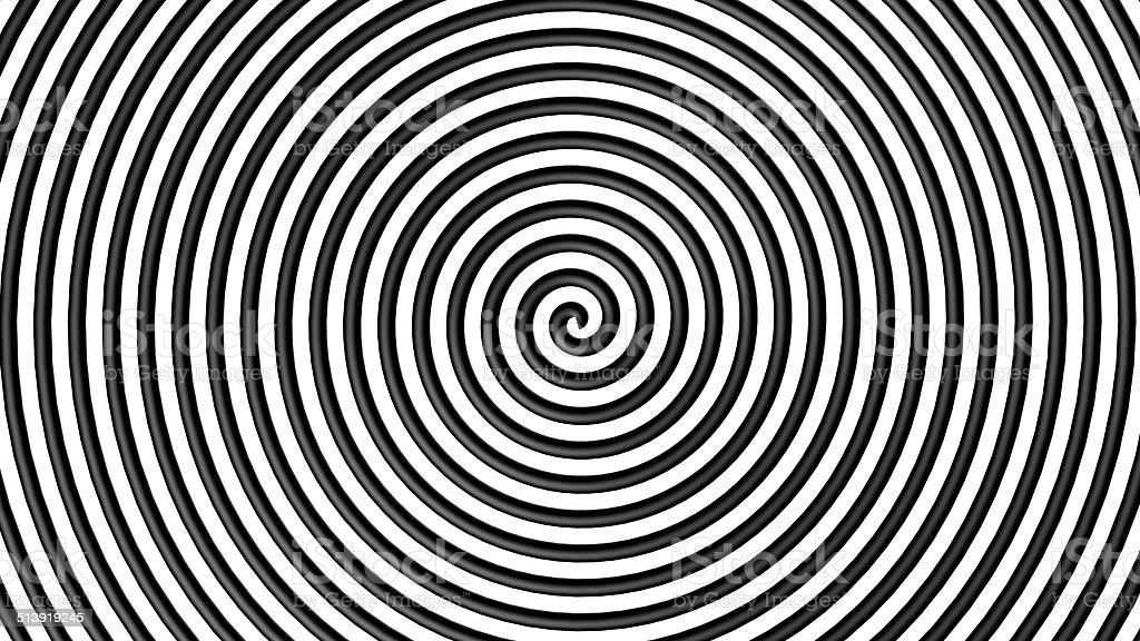 Black and white hypnotic circle stock photo