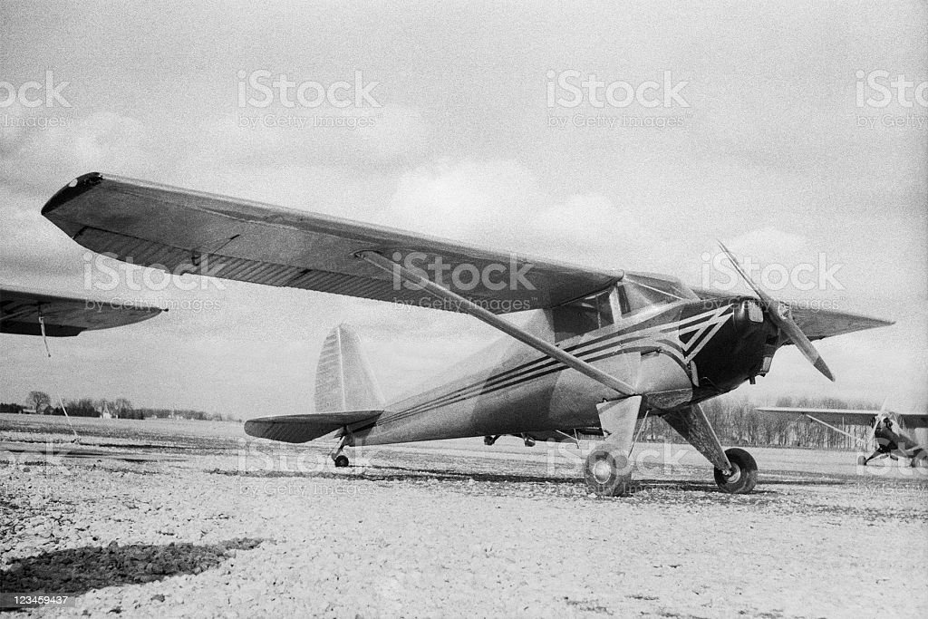 Black and white image of an old airplane, 1946 Luscombe. stock photo