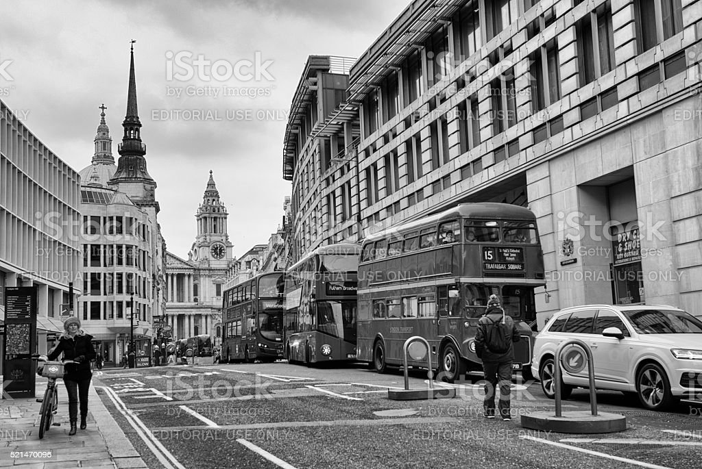 Black and White image of Fleet Street stock photo