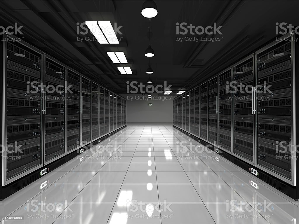 Black and white image of network server racks stock photo