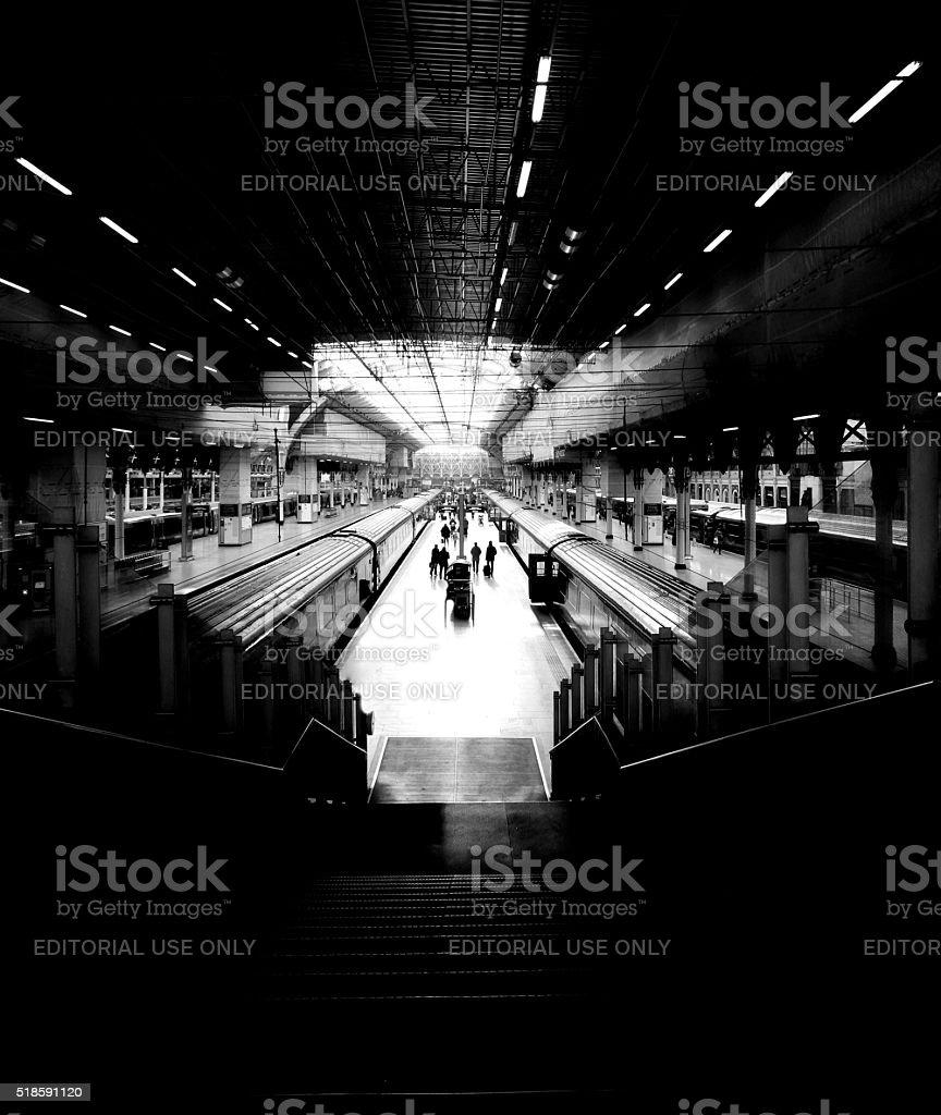 Black and White image of Paddington Station, London, UK stock photo