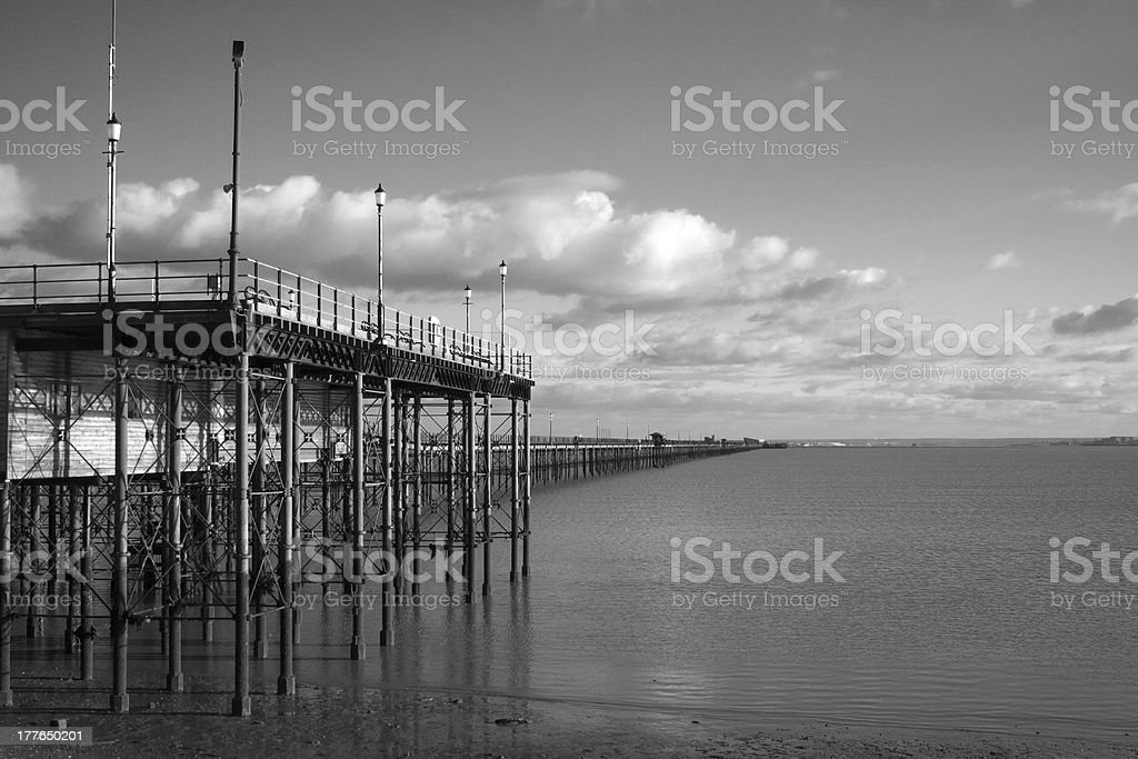 Black and White Image of Southend Pier, Essex, England royalty-free stock photo