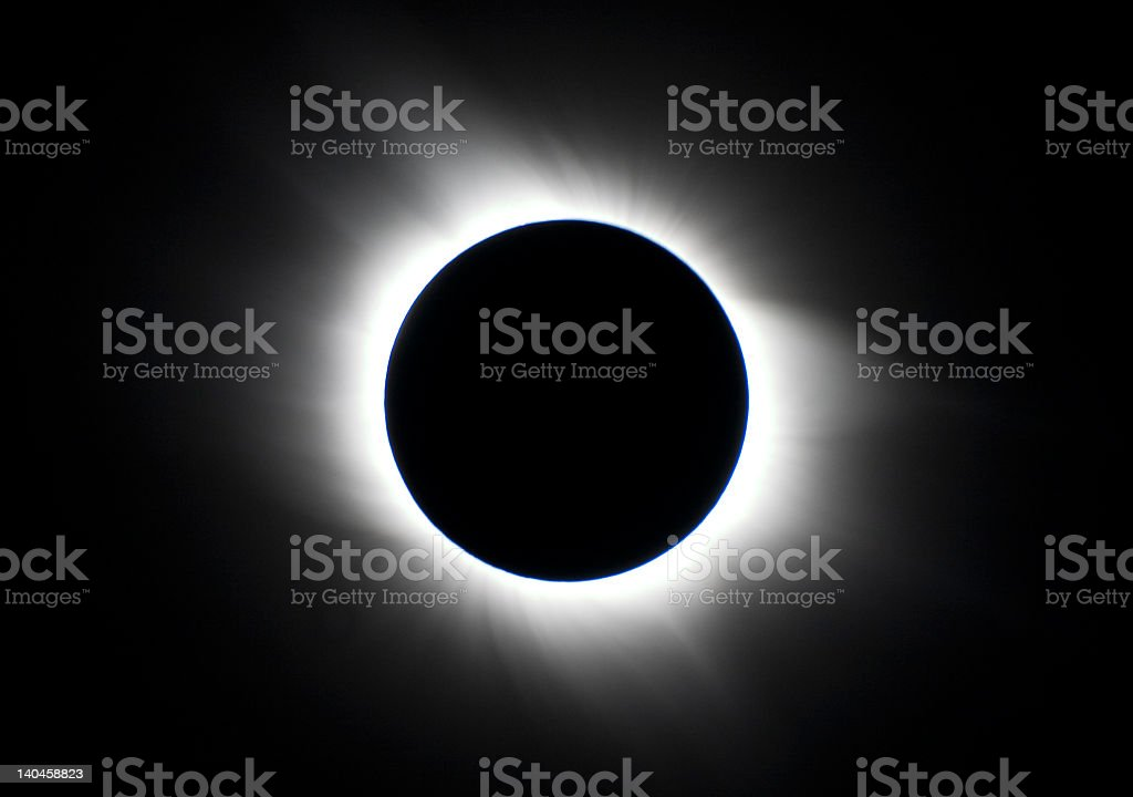 Black and white image of total solar eclipse stock photo