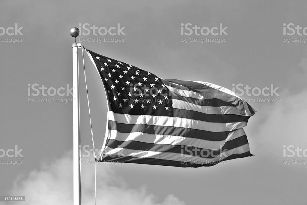 Black and white image of US Flag waving in the wind royalty-free stock photo