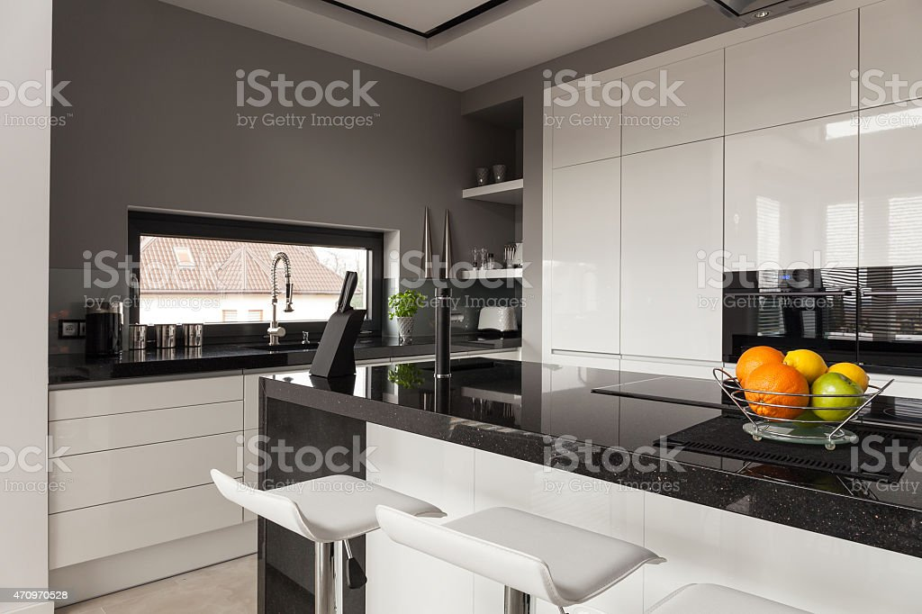 Black and white kitchen design stock photo
