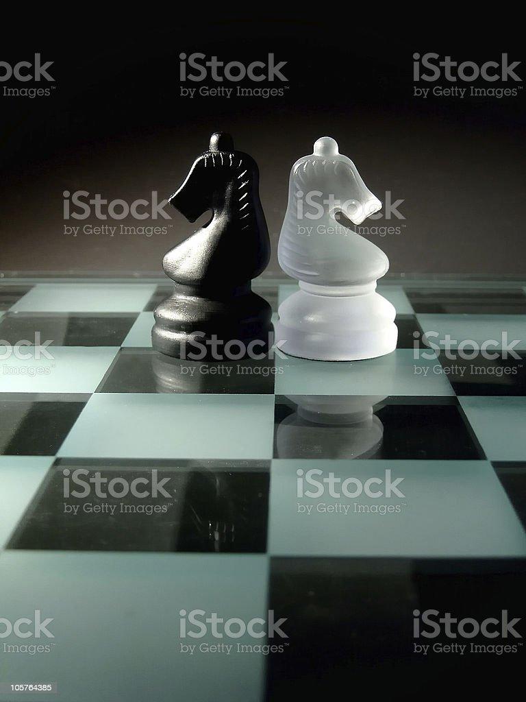 Black and white knight stock photo