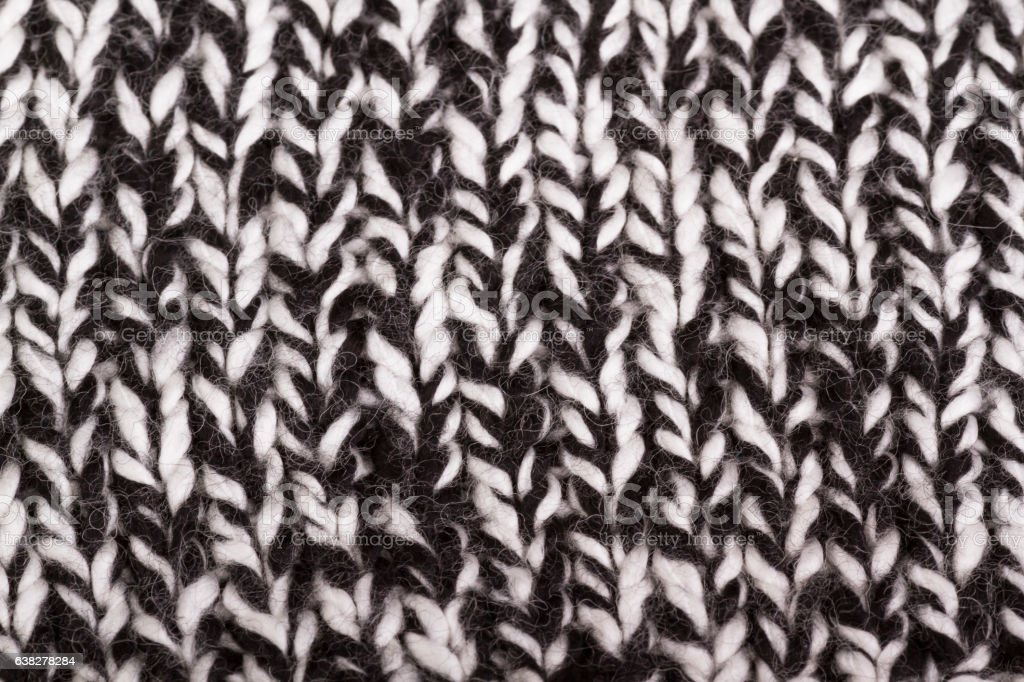 Black and White knitted fabric as background stock photo