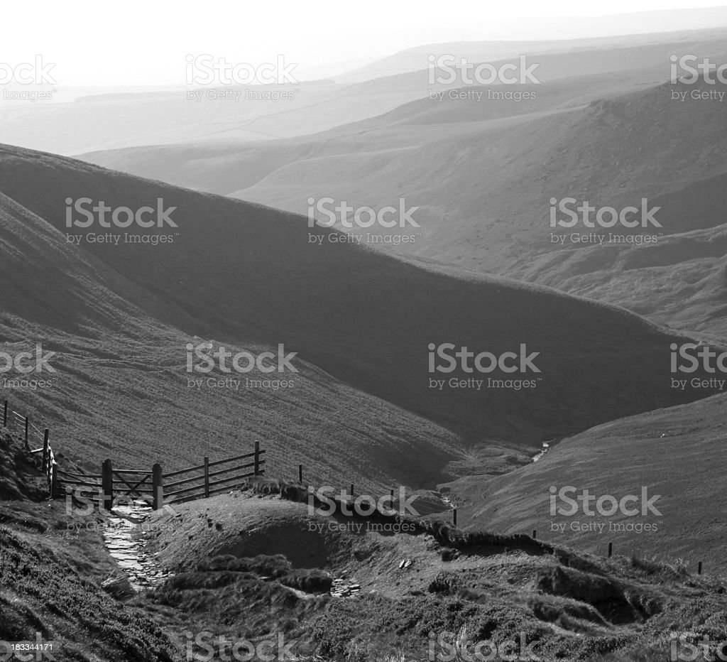 Black and white landscape in the Peak Disctrict stock photo