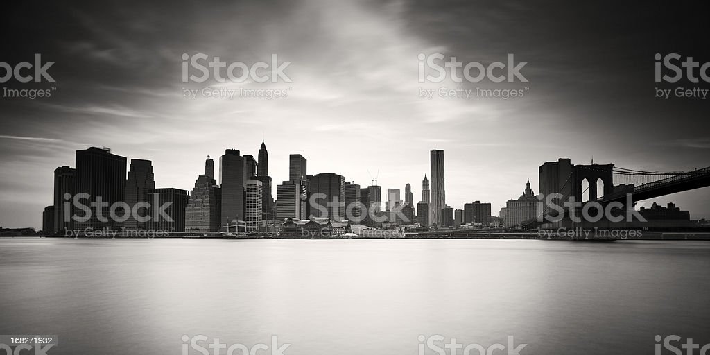 Black and white landscape photograph of New York City royalty-free stock photo