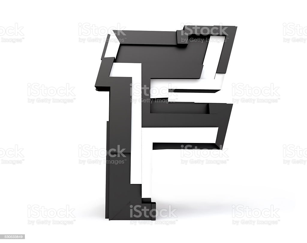 Black and White Letter F stock photo