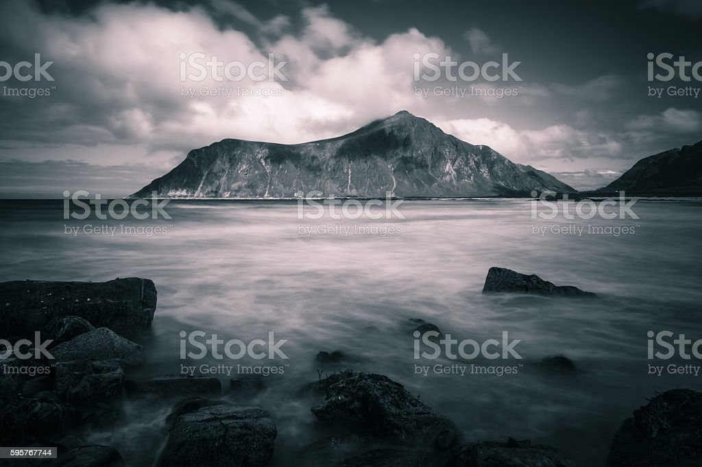 Black and White Lofoten landscape stock photo