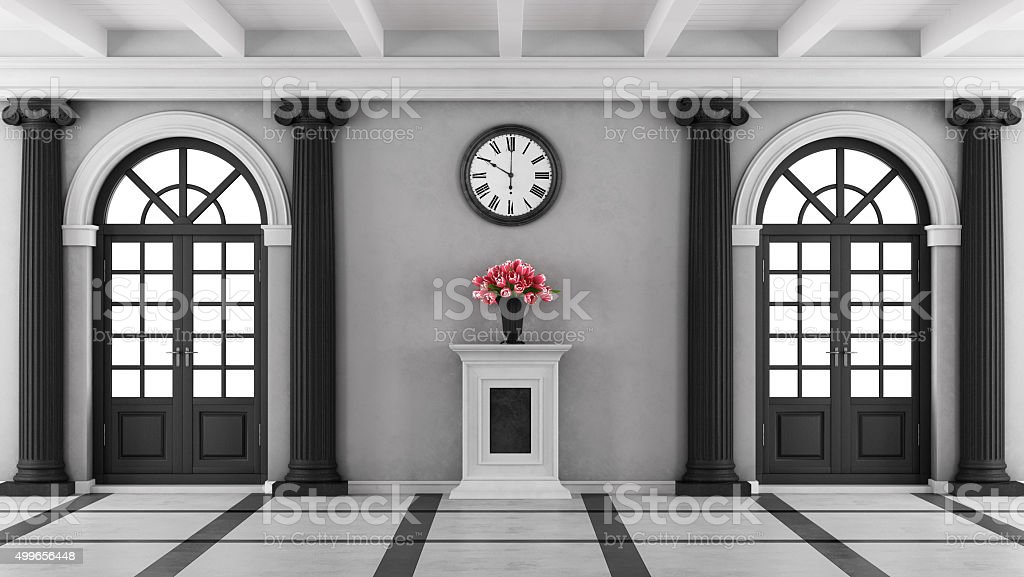 Black and white luxury home entrance stock photo