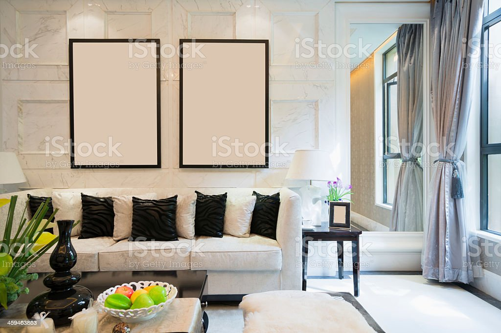 Black and white luxury living room stock photo