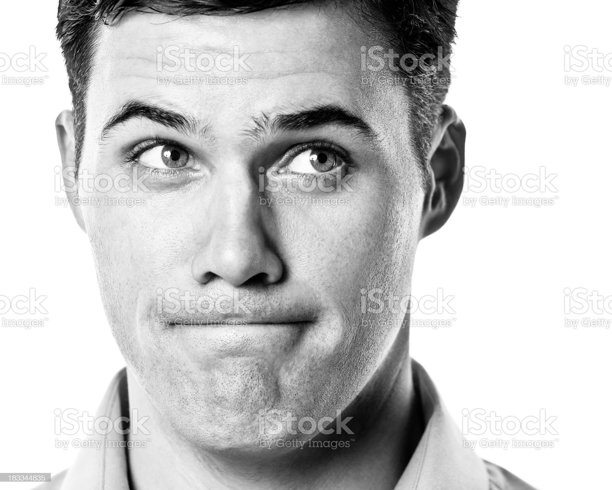 Black And White Male Headshot royalty-free stock photo